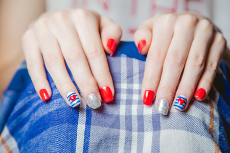 painted toes: stylish multicolored manicure Stock Photo
