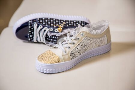 exclusively: Stylish shoes with rhinestones, womens shoes Stock Photo