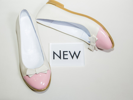 new collection: Female ballet flats are on the shelf, the new collection Stock Photo
