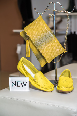 moccasins: Yellow bag and womens moccasins, a new collection