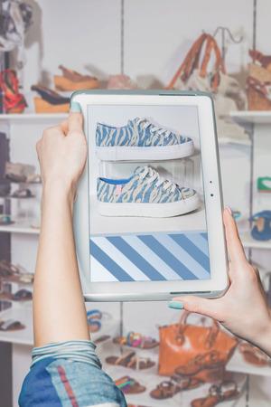 shoe store: online shoe store, online sale Stock Photo