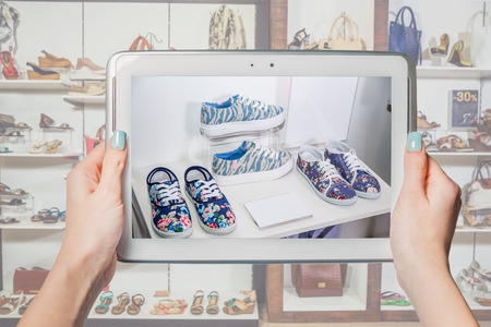 shoe store: online shoe store, online sale Stock Photo
