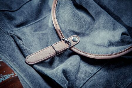 buckles: Backpack with leather belt Stock Photo
