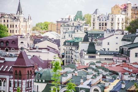 stole: Los techos de las casas, las calles de Kiev Foto de archivo
