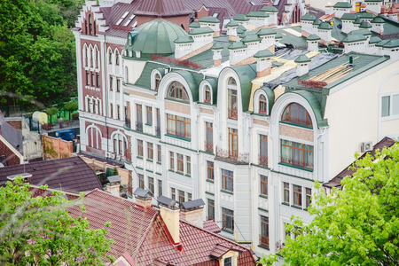 lowrise: Roofs of houses, the streets of Kiev