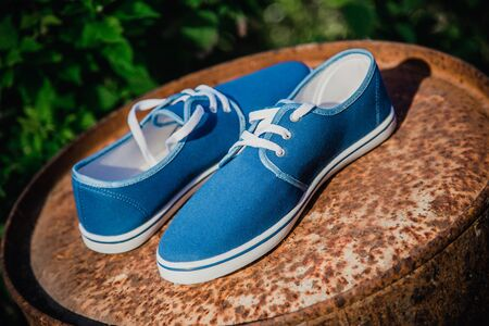 swagger: Mens blue loafers, masculine style sneakers Stock Photo