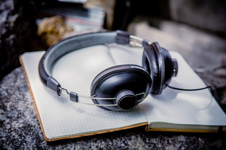 playlist: Playlist, headphones and notebook nature