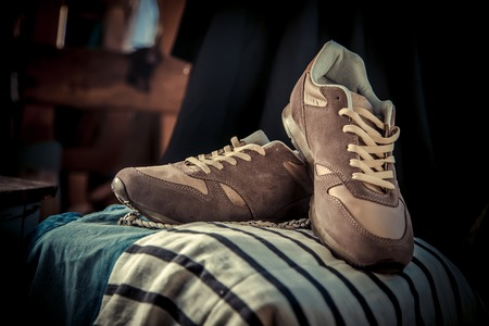men's: Brown sneakers, mens sneakers, fashion Stock Photo