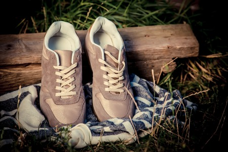 mens: Brown sneakers, mens sneakers, fashion Stock Photo