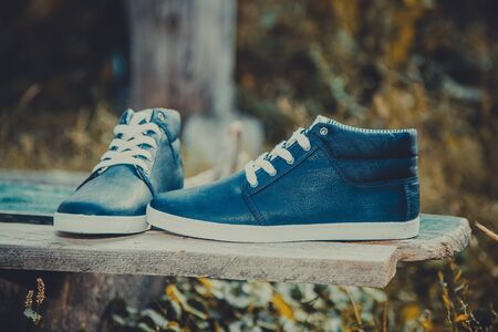 mens fashion: Stylish mens fashion shoes leather style blue sneakers