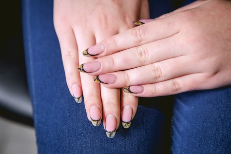 nails: Womens manicure, nails, beauty Stock Photo
