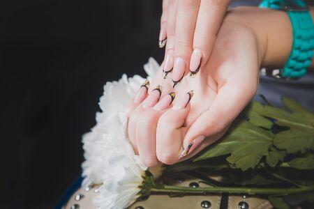 womens: Stylish womens manicure, beauty, fashion, body care Stock Photo