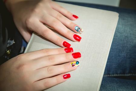 women's hands: Red Manicure, womens hands