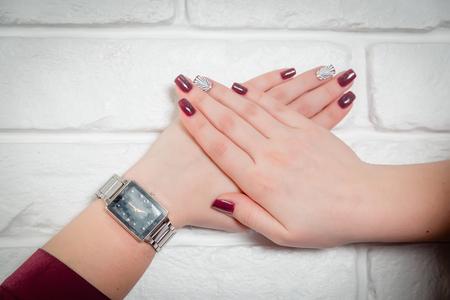 womens: Womens manicure, shell on the nail, stylish Stock Photo