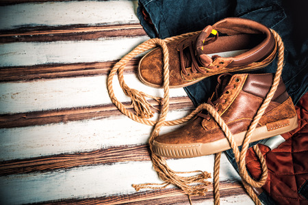 Stylish men's shoes, leather shoes Stock Photo