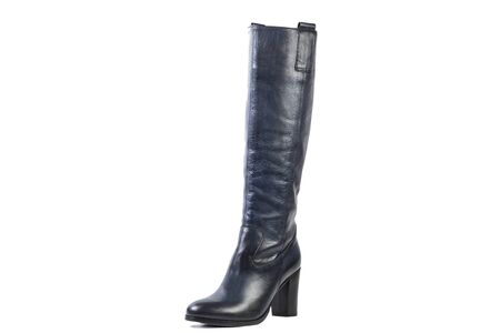 high angles: blue female high boots on a white background, online shop