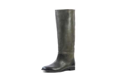 high angles: green female high boots on a white background, online shop Stock Photo