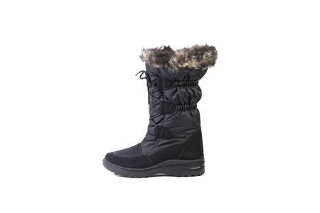 high angles: snow boots with fur on a white background, women shoes online