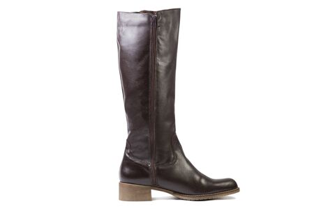 high angles: brovn female high boots on a white background, online shop Stock Photo
