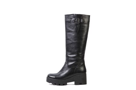 high angles: black female high boots on a white background, online shop Stock Photo