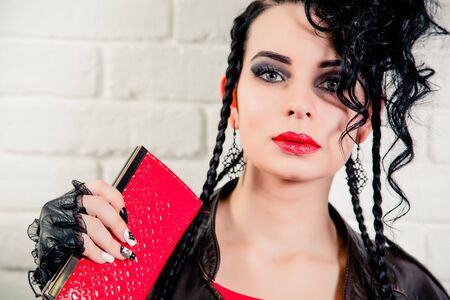 brunette: vinnitsa, UKRAINE - November 13, 2015.  Sexy brunette girl, makeup and hair in a beauty salon Stock Photo