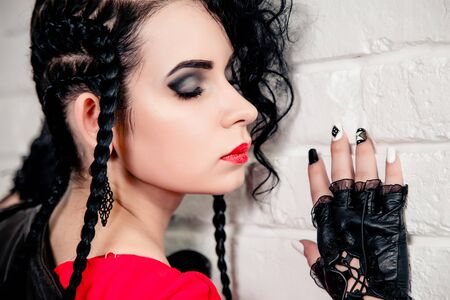 brutal: Sexy brunette girl, makeup and hair in a beauty salon Stock Photo