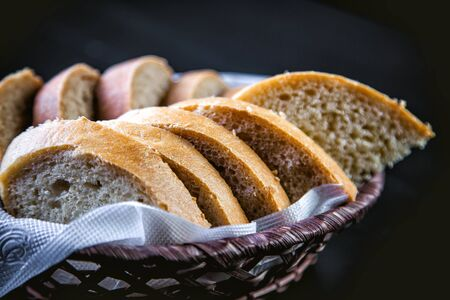 sliced bread: sliced bread in the basket, black and white bread