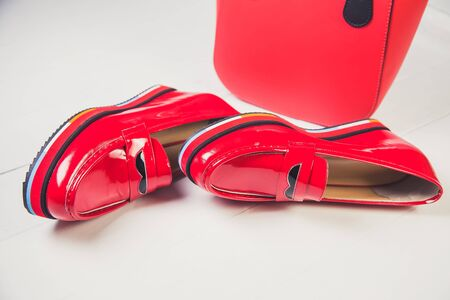 patent: red shoes, stylish patent leather shoes