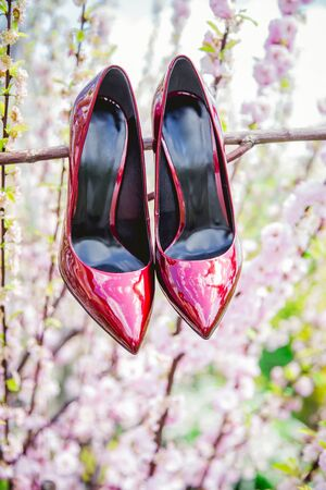 red shoes: red shoes, high heels, shoes Background colors, advertising photo Stock Photo