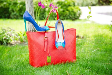 leather shoes: blue shoes and a red bag, leather shoes  fashion