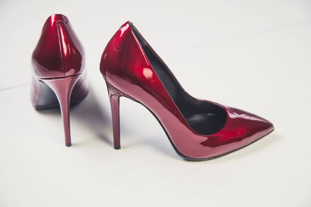 patent leather: Ladies red high heels, Italian shoes fashion