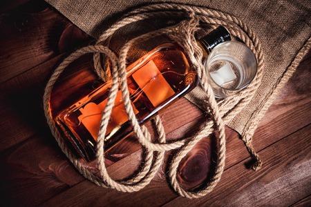 elite: whiskey aged elite alcohol on wooden background