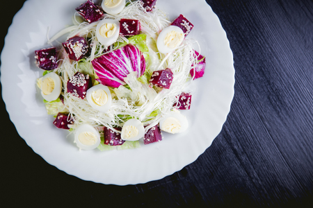salad greens: Buriak salad, greens and perepelin?h eggs,