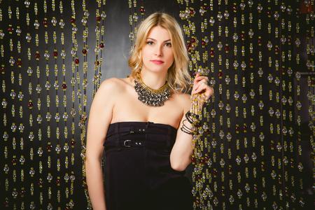 neckline: fashion photography, girl black dress with a neckline