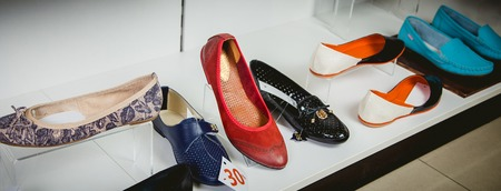 stylish Italian sandals on the store shelf