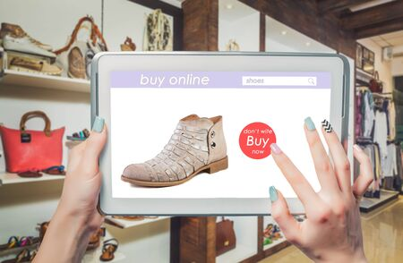 womens fashion: buy online shoe store, womens fashion Stock Photo