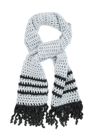 Gray scarf crocheted of wool yarns photo