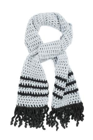 Gray scarf crocheted of wool yarns photo