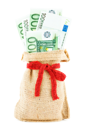 accumulations: Linen sack with euro tied red ribbon Stock Photo