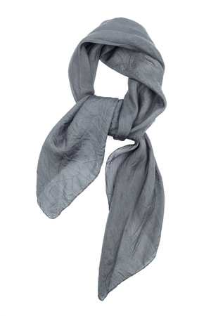 scarf: a grey silk neckerchief