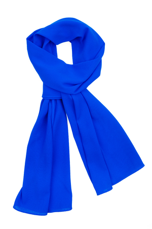scarf: a blue silk scarf tied in a beautiful knot isolated on white  Stock Photo