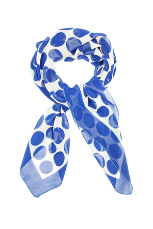 scarf: a silk scarf in blue peas isolated on white background