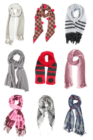 colds: The set of wool scarves isolated on white background Stock Photo