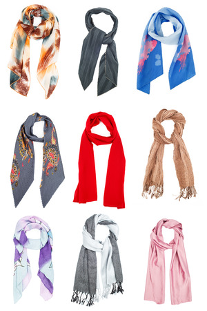 scarves: The set of silk scarves isolated on white background