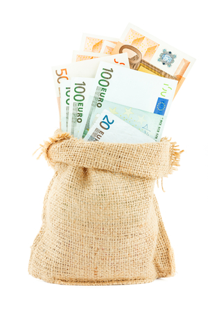accumulations: Euro paper money in the linen bag isolated on white background