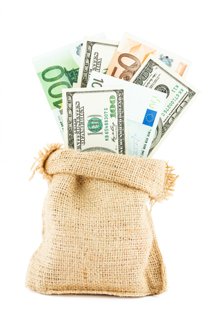 accumulations: Money dollars and euros in the linen bag isolated on white background