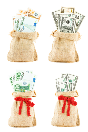 accumulations: The set of money in the linen sac isolated on a white background Stock Photo