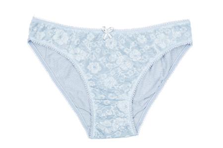 cotton panties: S mujeres ropa interior de algod�n de color azul con el cord�n aislado en fondo blanco
