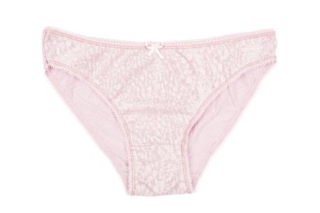 cotton panties: Mujeres s ropa interior de algod�n de color rosa con el cord�n aislado en fondo blanco