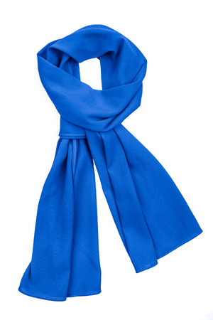 silk scarf: Blue silk scarf isolated on white background. Female accessory.